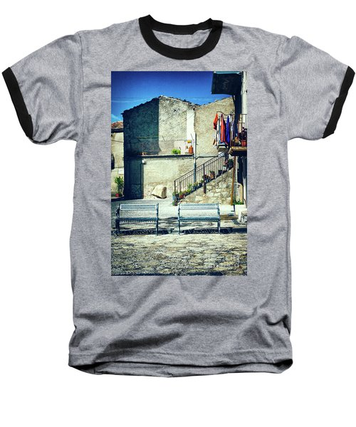 Baseball T-Shirt featuring the photograph Italian Square With Benches by Silvia Ganora
