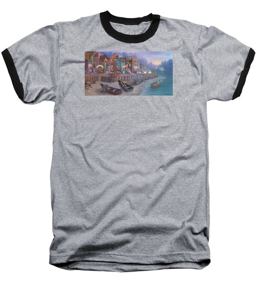 Italy Tuscan Decor Painting Seascape Village By The Sea Baseball T-Shirt