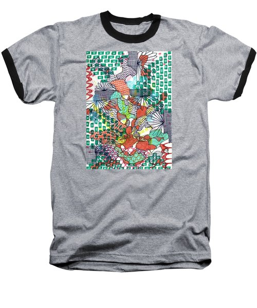 Baseball T-Shirt featuring the mixed media It's A Jungle Out There by Lisa Noneman