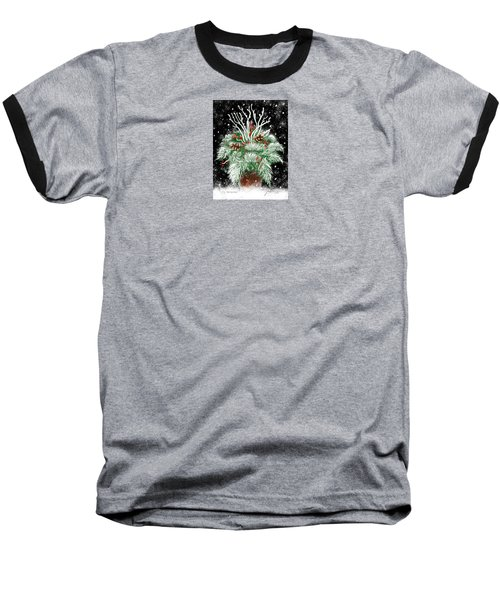 Baseball T-Shirt featuring the painting It's Snowing by Jean Pacheco Ravinski
