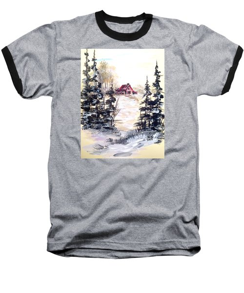 Baseball T-Shirt featuring the painting It's Winter - 2 by Dorothy Maier