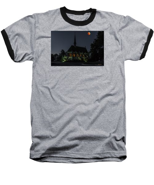 Baseball T-Shirt featuring the photograph Ivy Chapel Under The Blood Moon by Stephen  Johnson