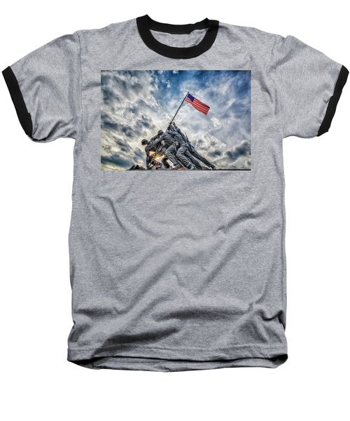 Iwo Jima Memorial Baseball T-Shirt by Susan Candelario