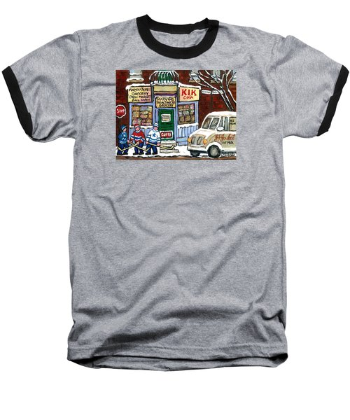 J J Joubert Vintage Milk Truck At Marvin's Grocery Montreal Memories Street Hockey Best Hockey Art Baseball T-Shirt