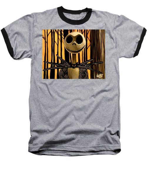 Jack Skelington Baseball T-Shirt by Tom Carlton