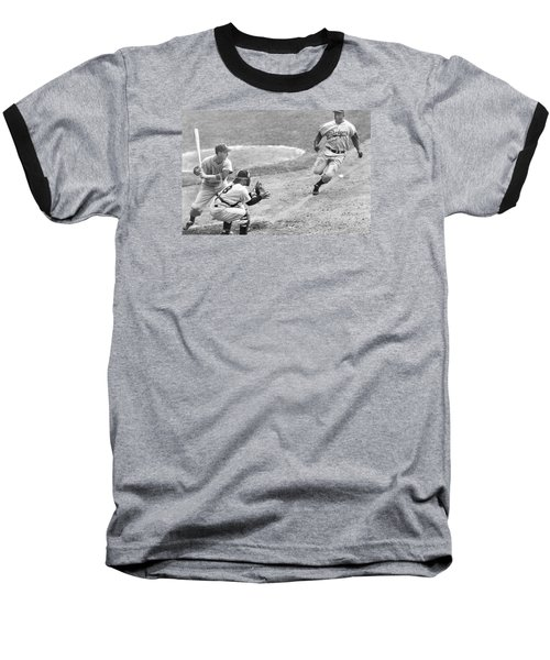 Jackie Robinson Stealing Home Yogi Berra Catcher In 1st Game 1955 World Series Baseball T-Shirt