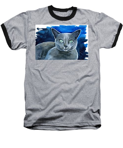 Jackpot - Russian Blue Cat Painting Baseball T-Shirt