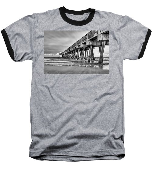 Jacksonville Beach Pier In Black And White Baseball T-Shirt