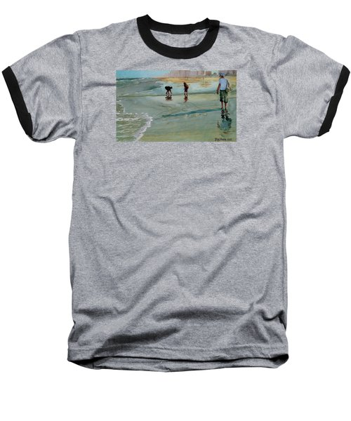 Baseball T-Shirt featuring the painting Jacksonville Shell Hunt by Jeffrey S Perrine