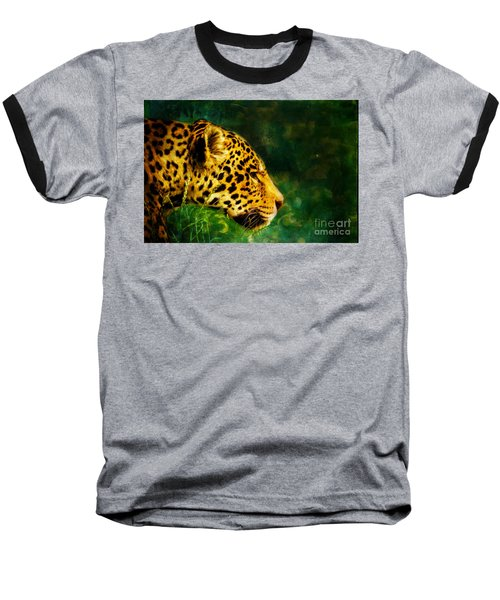 Jaguar In The Grass Baseball T-Shirt
