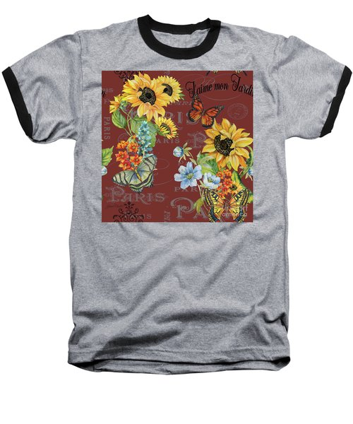Baseball T-Shirt featuring the painting Jaime Mon Jardin-jp3988 by Jean Plout