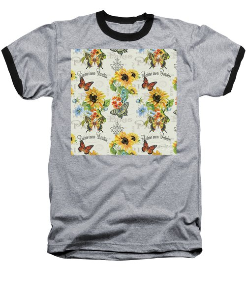 Baseball T-Shirt featuring the painting Jaime Mon Jardin-jp3989 by Jean Plout