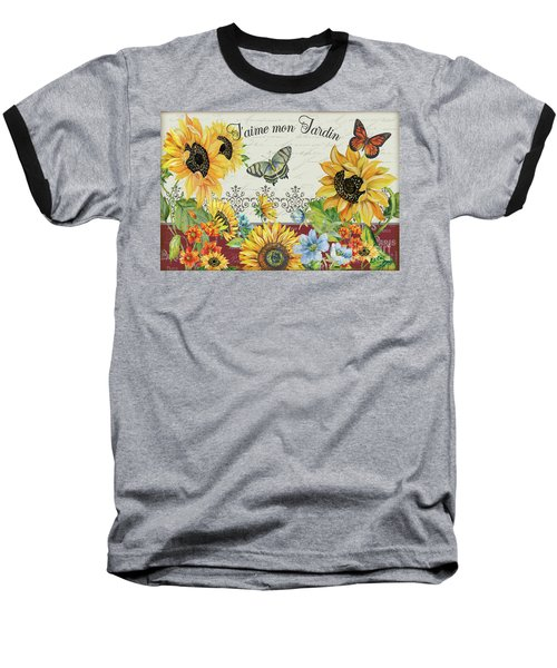 Baseball T-Shirt featuring the painting Jaime Mon Jardin-jp3990 by Jean Plout