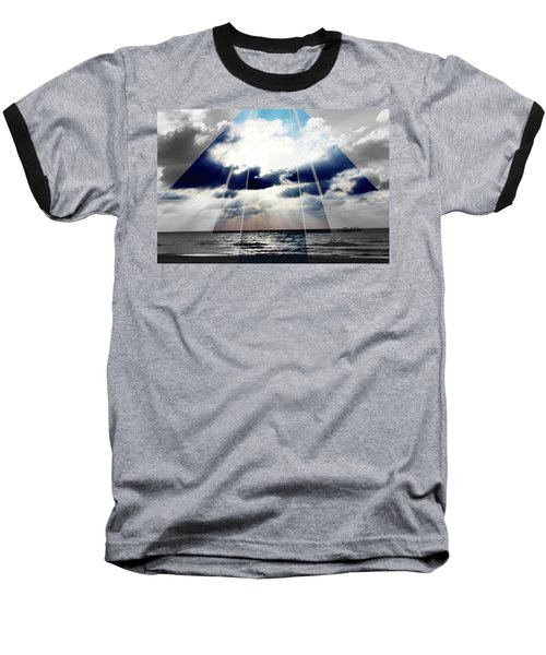 Jamaica Sunset Art Deco Bw With Color Baseball T-Shirt