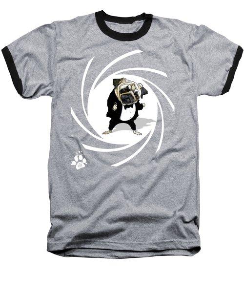 James Bond Pug Caricature Art Print Baseball T-Shirt