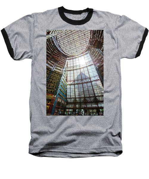 Baseball T-Shirt featuring the photograph James R Thompson Center Interior II Chicago by Deborah Smolinske