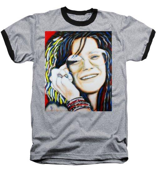 Janis Joplin Pop Art Portrait Baseball T-Shirt by Bob Baker