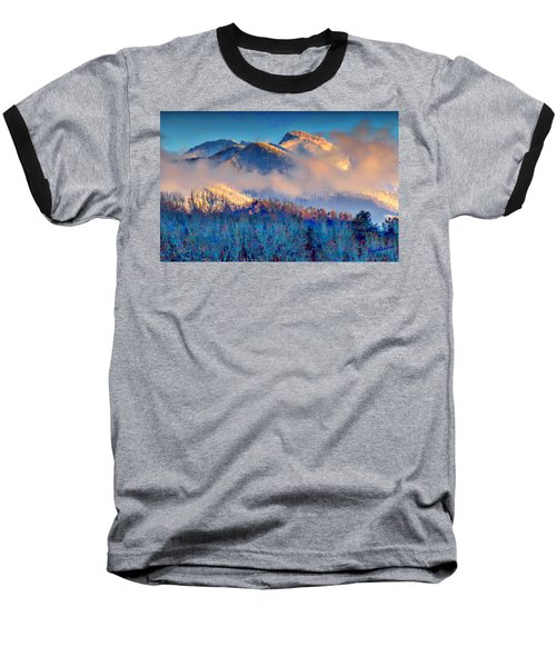 January Evening Truchas Peak Baseball T-Shirt by Anastasia Savage Ealy