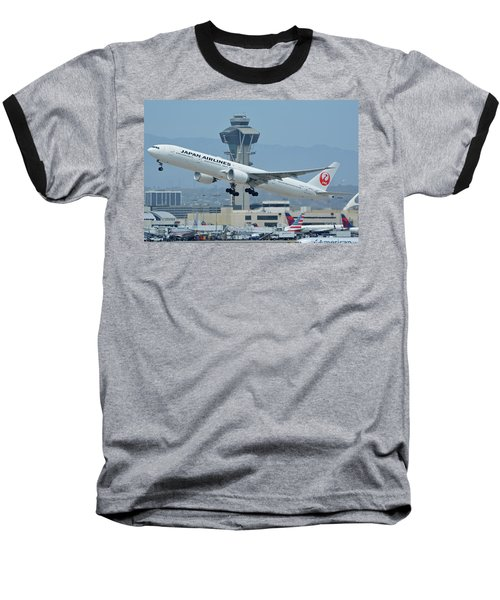Baseball T-Shirt featuring the photograph Japan Airlines Boeing 777-346er Ja737j Los Angeles International Airport May 3 2016 by Brian Lockett