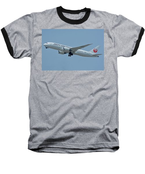 Baseball T-Shirt featuring the photograph Japan Airlines Boeing 787-8 Ja835j Los Angeles International Airport May 3 2016 by Brian Lockett