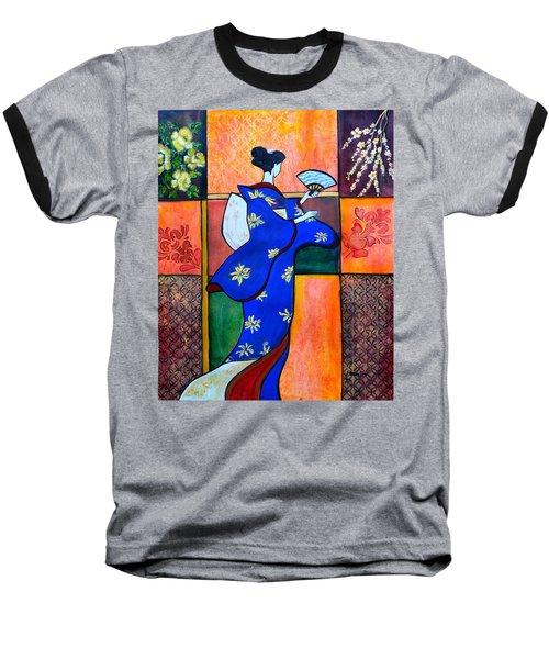 Japan Geisha Kimono Colorful Decorative Painting Ethnic Gift Decor Baseball T-Shirt