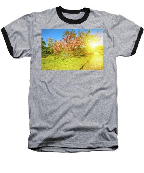 Japanese Garden Cherry Blossom Baseball T-Shirt