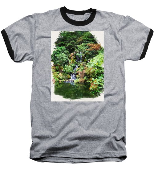 Japanese Garden Waterfall 2 Baseball T-Shirt