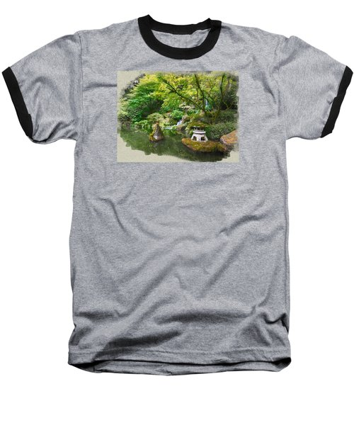 Japanese Garden Waterfall Baseball T-Shirt
