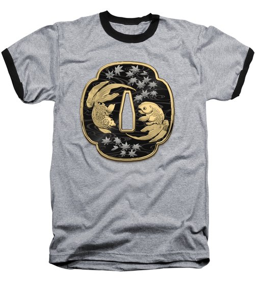 Japanese Katana Tsuba - Twin Gold Fish On Black Steel Over Red Velvet Baseball T-Shirt
