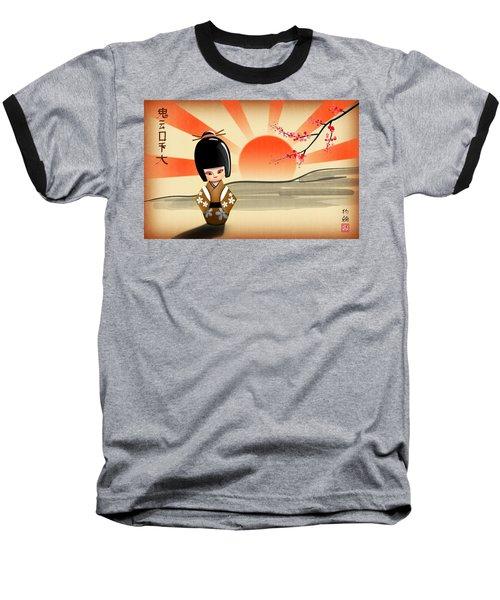 Japanese Kokeshi Doll Baseball T-Shirt by John Wills
