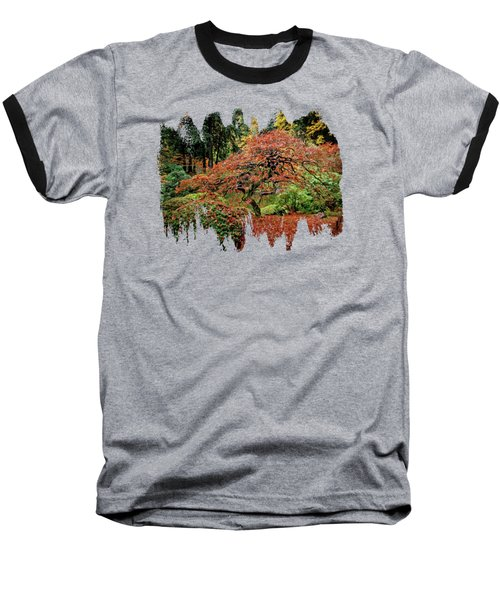Baseball T-Shirt featuring the photograph Japanese Maple At The Japanese Gardens Portland by Thom Zehrfeld