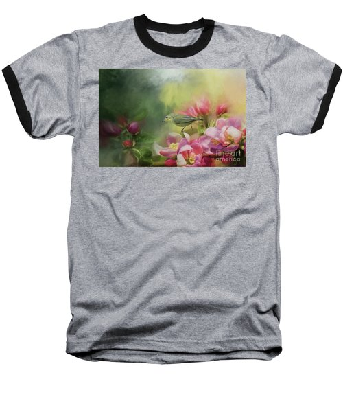 Japanese White-eye On A Blooming Tree Baseball T-Shirt by Eva Lechner
