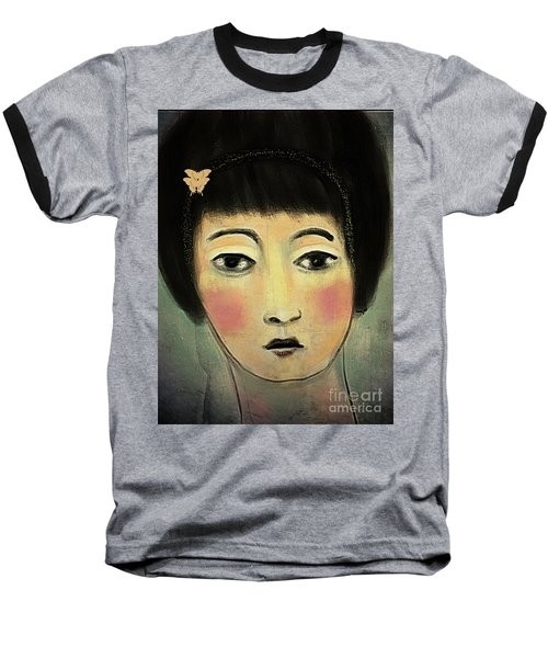 Baseball T-Shirt featuring the digital art Japanese Woman With Butterflies by Alexis Rotella
