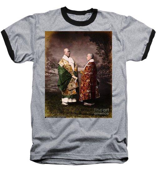 Baseball T-Shirt featuring the painting Japanese Zen Buddhist Priests Circa 1880 by Peter Gumaer Ogden