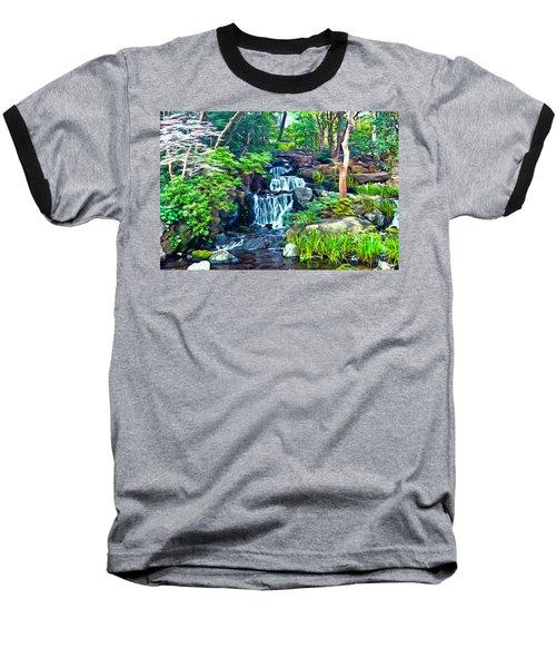 Japanese Waterfall Garden Baseball T-Shirt