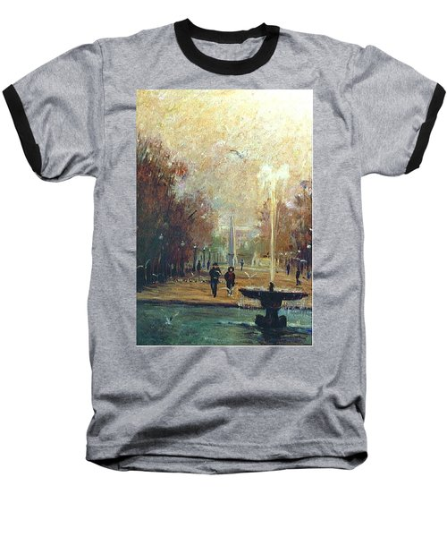 Baseball T-Shirt featuring the painting Jardin Des Tuileries by Walter Casaravilla