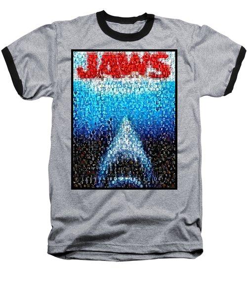Jaws Horror Mosaic Baseball T-Shirt