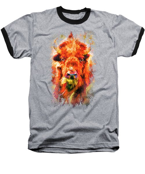 Jazzy Buffalo Colorful Animal Art By Jai Johnson Baseball T-Shirt