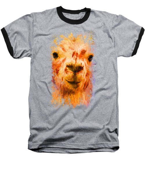 Jazzy Llama Colorful Animal Art By Jai Johnson Baseball T-Shirt by Jai Johnson