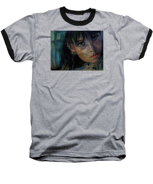 Baseball T-Shirt featuring the painting Jean Shrimpton by Paul Lovering