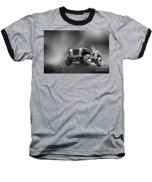 Baseball T-Shirt featuring the photograph Jeep Bw by Charuhas Images