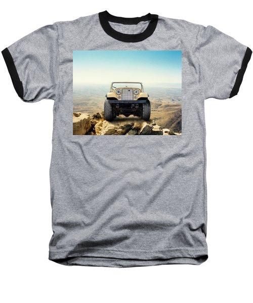 Jeep On Mountain Baseball T-Shirt