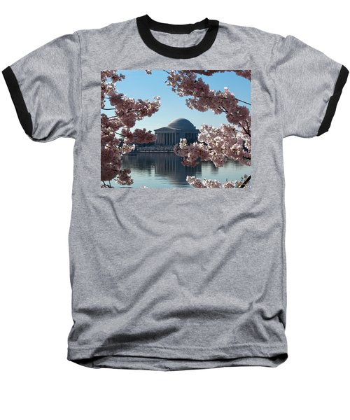 Baseball T-Shirt featuring the photograph Jefferson Memorial At Cherry Blossom Time On The Tidal Basin Ds008 by Gerry Gantt