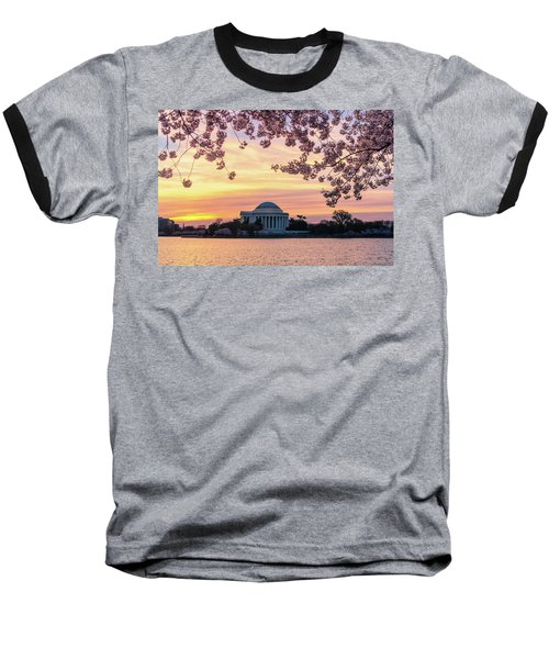 Jefferson Memorial At Sunrise With Blossoms Baseball T-Shirt