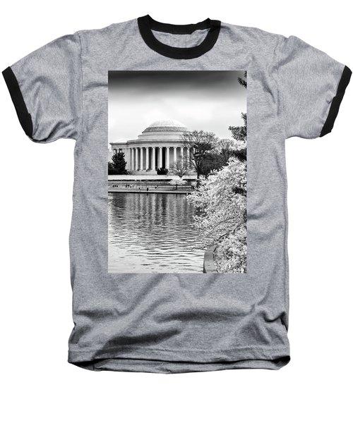 Jefferson Memorial Cherry Blosum Time Baseball T-Shirt by Paul Seymour