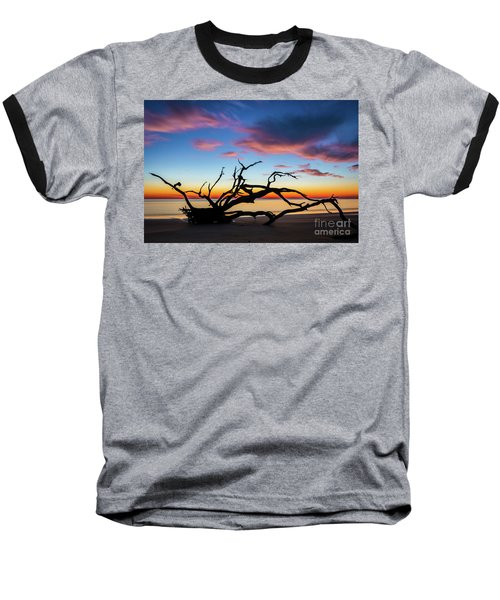 Jekyll Island Sunrise On Driftwood Beach Baseball T-Shirt