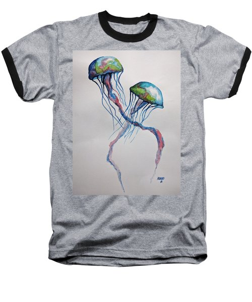 Baseball T-Shirt featuring the painting Jellyfish by Edwin Alverio