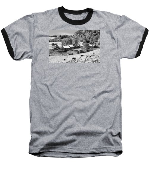 Baseball T-Shirt featuring the photograph Jenne Farm In Autumn Black And White Scenic Landscape by Betty Denise