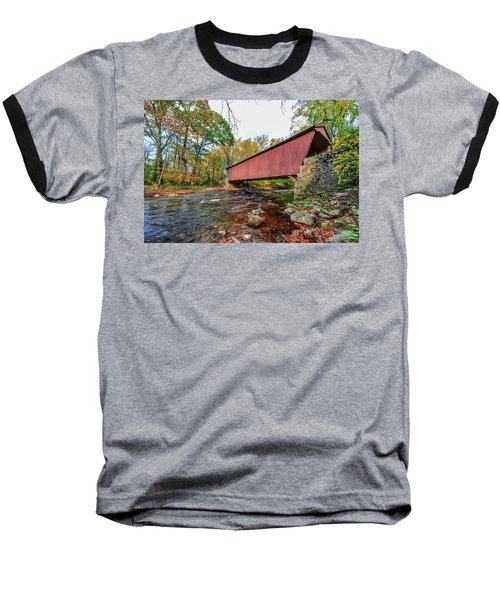 Jericho Covered Bridge In Maryland During Autumn Baseball T-Shirt