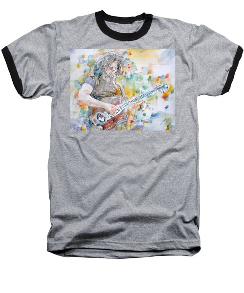 Jerry Garcia - Watercolor Portrait.15 Baseball T-Shirt
